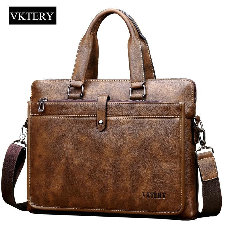 Laptop Briefcase Business-Portfolio Genuine-Leather Handbag Shoulder-Crossbody-Bag Men's Bag