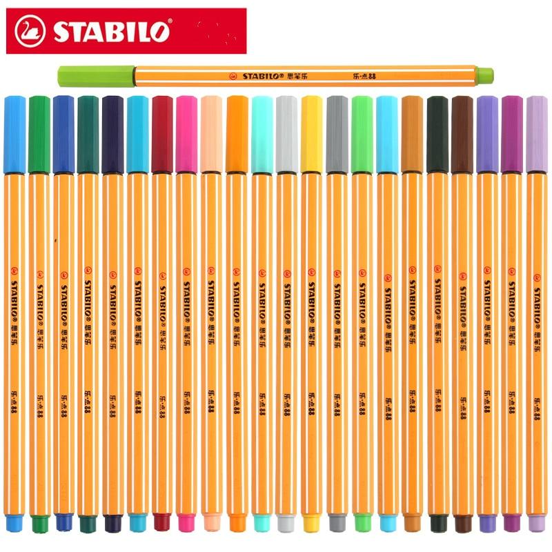 25pcs Germany Stabilo 88 Fiber Pen 0 4mm Fine Sketch Needle Technical Pen Multifunction Ink Gel
