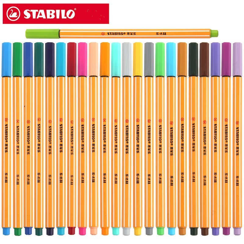 STABILO 88 Fiber Pen 0.4mm Fine Sketch Needle Technical Pen Multifunction Ink Gel Pen Marker Paperlaria Escolar 25pcs Germany