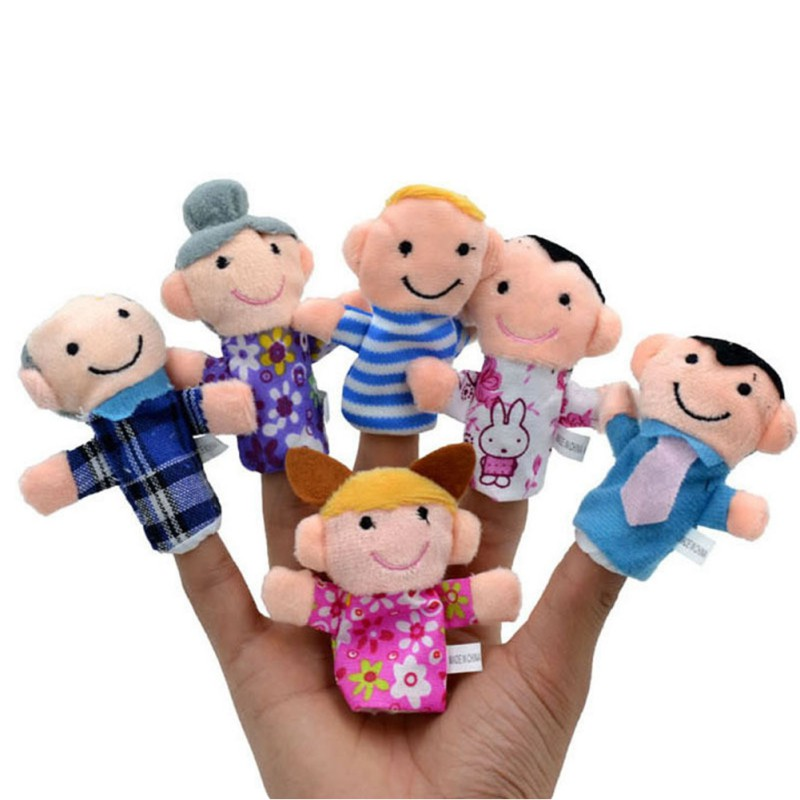 2018 6PCS Cartoon Family Finger Puppets Baby Kids Plush Cloth Learn Or Tell Story Role Toy Early Educational Toys Set M8