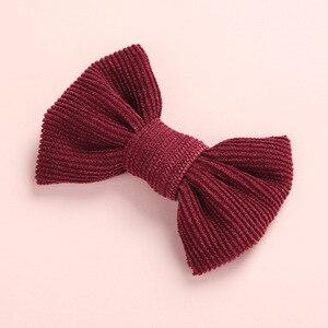 Image 5 - 20 sztuk/partia, tkanina sztruksowa łuk nylonowe opaski lub spinki do włosów, zdjęcie rekwizytu prezent na baby shower