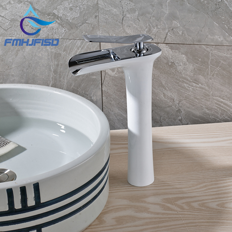Basin Mixer Water Faucet with Hot Cold Water White Color Single Handle micoe hot and cold water basin faucet mixer single handle single hole modern style chrome tap square multi function m hc203