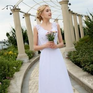 Image 4 - ADLN Barato Praia Vestidos de Casamento com Apliques Com Decote Em V Vestidos de Chiffon Para O Casamento Branco/Marfim Plus Size Vestidos de Noiva