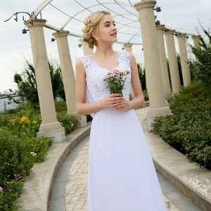 Image 4 - Adln 비치 웨딩 드레스 V 넥 쉬폰 드레스 웨딩 화이트/아이보리 플러스 크기 신부 가운