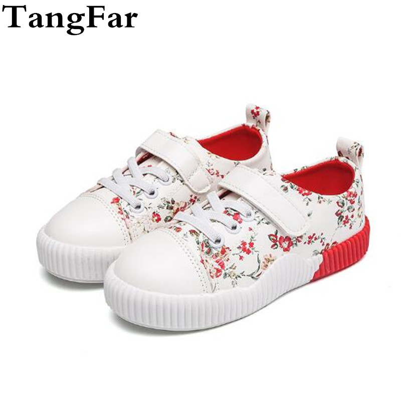 Children Canvas Shoes Lace Up Floral Comfortable Toddler Sneakers Causal Shoes New Fashion Baby Footwear