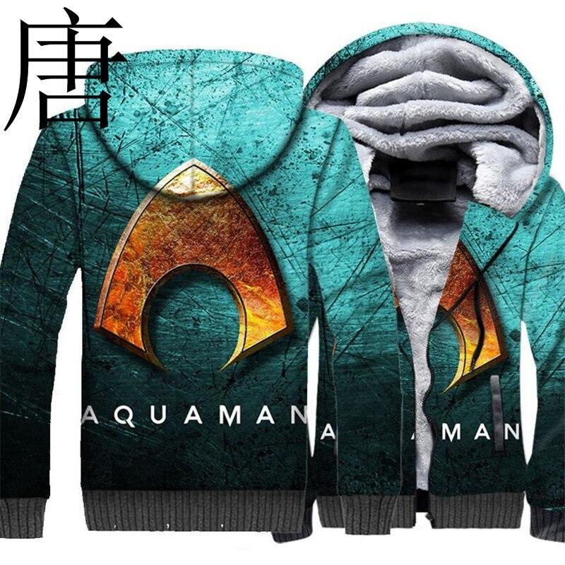 Tang cool 2019 nouvelle grande taille chaud cachemire veste à capuche zippé AQUAMAN Neptune 3D imprimé veste à capuche en automne hiver