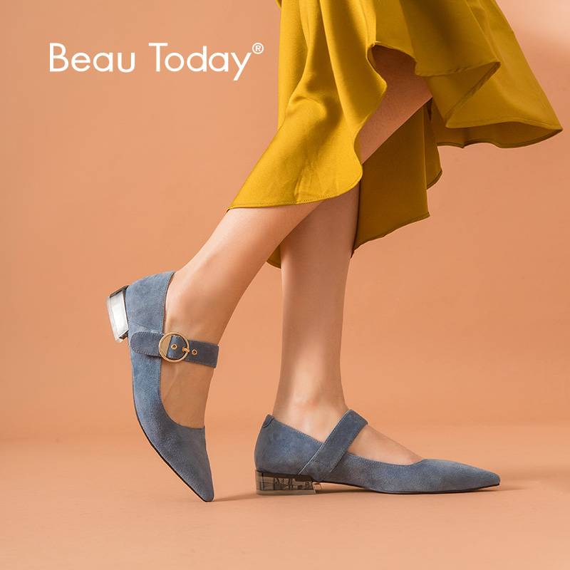 BeauToday Sweet Mary Jane Shoes Women Genuine Leather Kid Suede Pointed Toe Ankle Strap Lady Summer