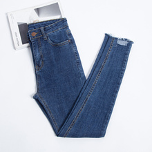 JUJULAND 2019 New Slim Stretch High Waist Skinny Jeans Female Scratch Worn Feet Vintage Pencil Pants Women Plus Size 8138