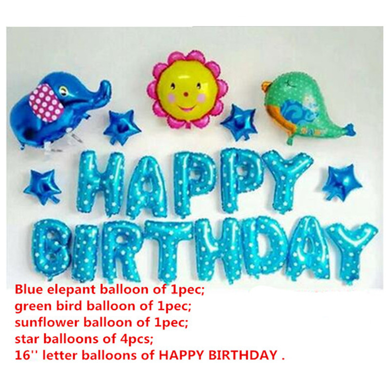 20pcs Happy birthday balloons set,cartoon elephant bird sunflower foil party dec