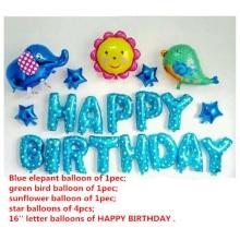 20pcs Happy birthday balloons set,cartoon elephant bird sunflower foil party decoration ballon ball gift child kid girl supplies