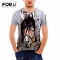 FORUDESIGNS T-shirt Men Tops Short Sleeve Crazy Horse Head 3D T Shirt Funny Tops Tee Teen Summer Male tShirts Plus Size Gymshar