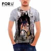 FORUDESIGNS T Shirt Men Tops Short Sleeve Crazy Horse Head 3D T Shirt Funny Tops Tee