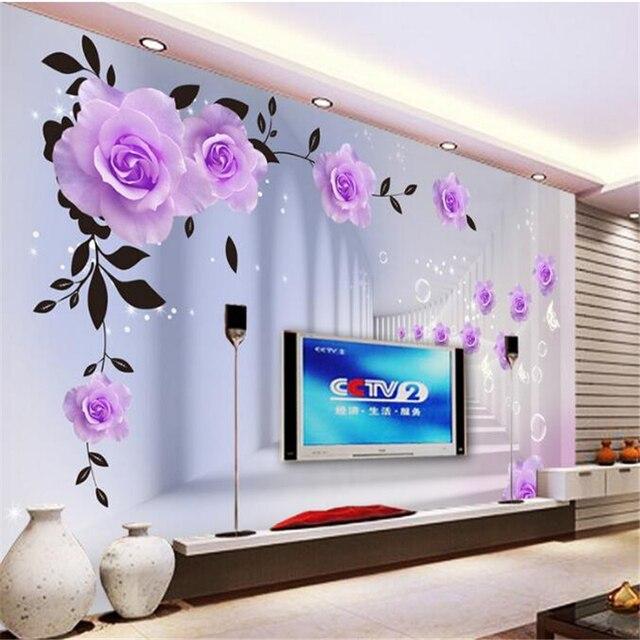 Beibehang tapete moderne tapeten lila rosen 3d landschaft wände ...
