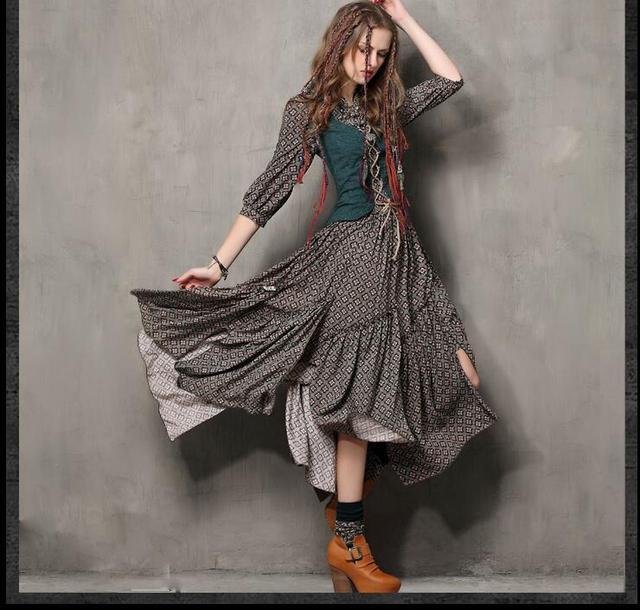 Fause Sets Mori Girl Spring Summer Women Dress Design VintageTunic Cotton Combo  Dresses Mandarin Collar Maxi Vestido To quality