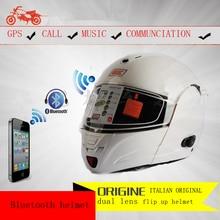 Origine capacetes Motorcycle helmets Built-in Bluetooth headset Flip up helmet dual lens motocross helmets han arai ls2 helmet