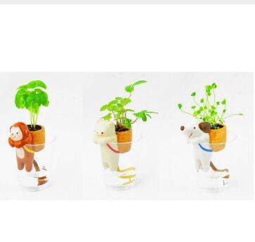 1pcs Kawaii Ceramic Cultivation Peropon Drinking Animal Planter Cute Animal Ceramic Self Watering Plante
