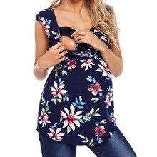 Женская одежда для беременных без рукавов с цветочным принтом; топы для беременных; блузка для кормящих малышей; Одежда для беременных женщин; ropa de mujer