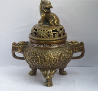 Collect Chinese old copper Carved 2 dragonhead lion lid big incense burner ,Chinese Censer free shipping 003