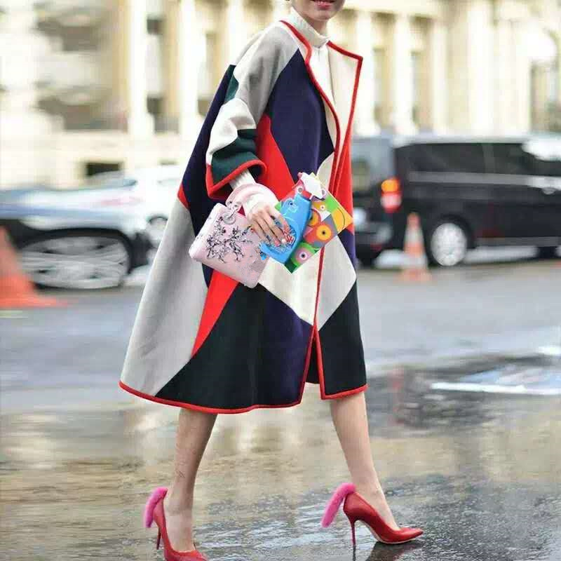 여자 패션 컬러 블록 인쇄 양모 코트 겨울 긴 캐주얼 느슨한 작업 O 넥 블랜드 모직 코트 하이 엔드-에서울 & 블렌드부터 여성 의류 의  그룹 1