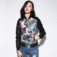Женская куртка бомбер из натуральной овечьей кожи размера плюс, цветная бейсбольная куртка в стиле панк