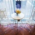 De Metal de ferro de madeira mesa de café varanda lazer redondo pequeno sofá de canto mesa de canto pequeno