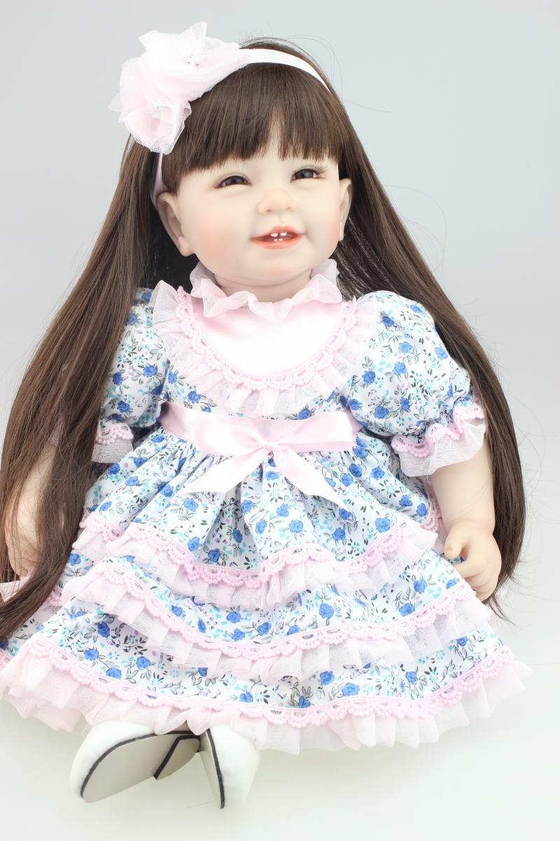 22inch NPK Lifelike Reborn Baby Dolls Long Hair American Girl Dolls ooted hair Handmade Vinyl Baby Doll Toys Soft Girls Gifts 22 inches sweet girl dolls brown hair 55cm doll reborn baby lovely toys cute birthday gift for girls as american girl
