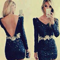 New Arrival V Neck Long Sleeves Open Back Mini Short Black Sparkly Glitter Sequins Cocktail Dresses 2015 New Semi Formal Gown
