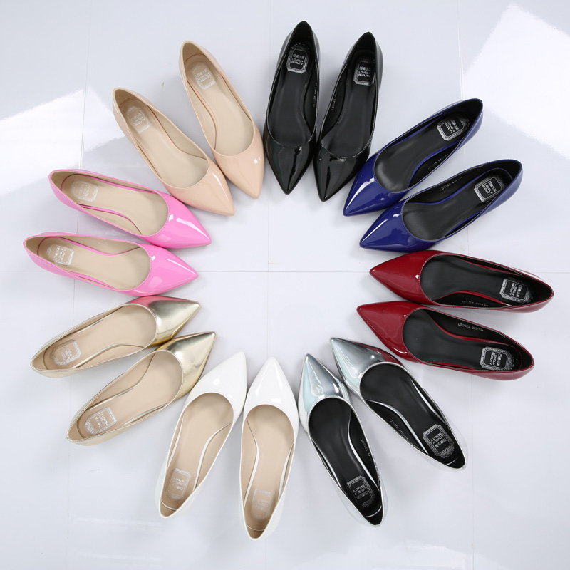 2016 spring/Summer Pointed toe 8Color OL  high quality Low heel pumps japanned leather shallow mouth shoes plus size 33 - 41 2017 spring and summer new women s shoes female pointed shallow mouth slope with high heel shoe side empty leather woman s shoes