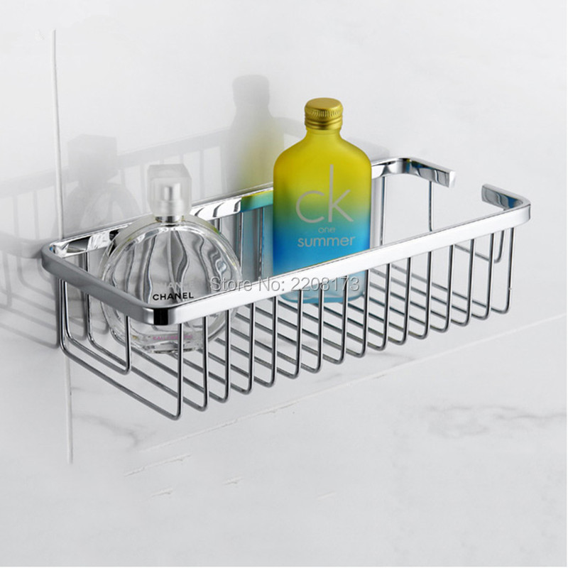 Hight Quality Bathroom Accessories 304 Stainless Steel Single-Wall Mounted Rectangular Storage Baskets Shower Caddy Baskets 30CM