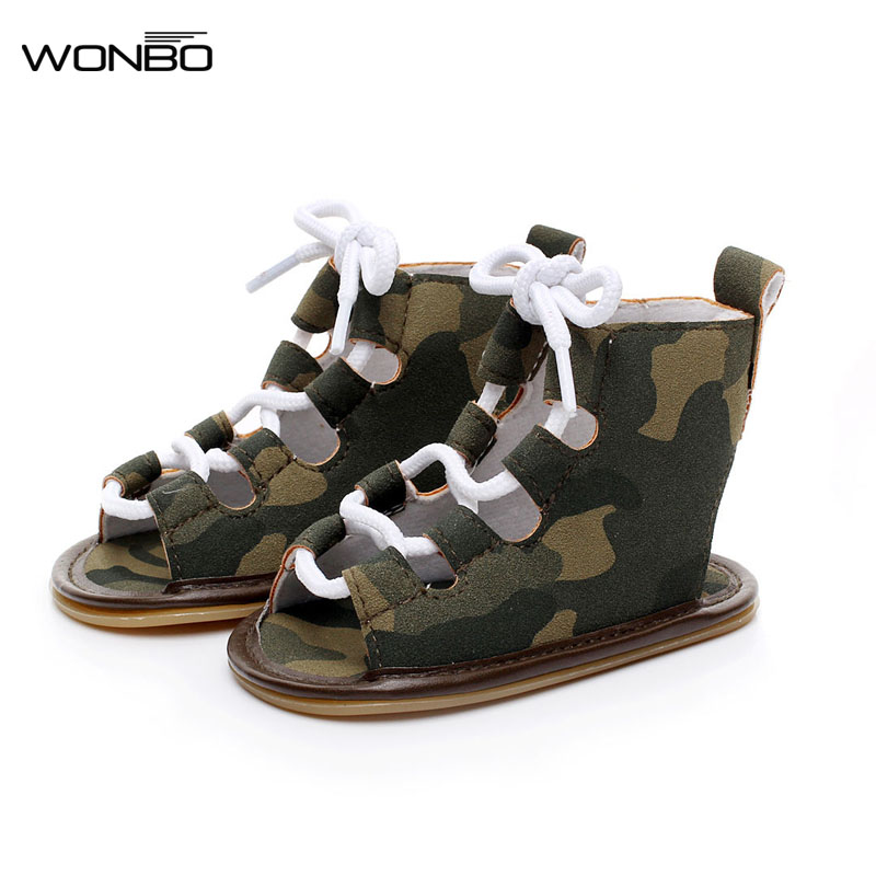 WONBO Summer infant Gladiator sandals 10 colors Hot sale Pu leather Baby moccasins child Rubber sole Lace-up Baby shoes