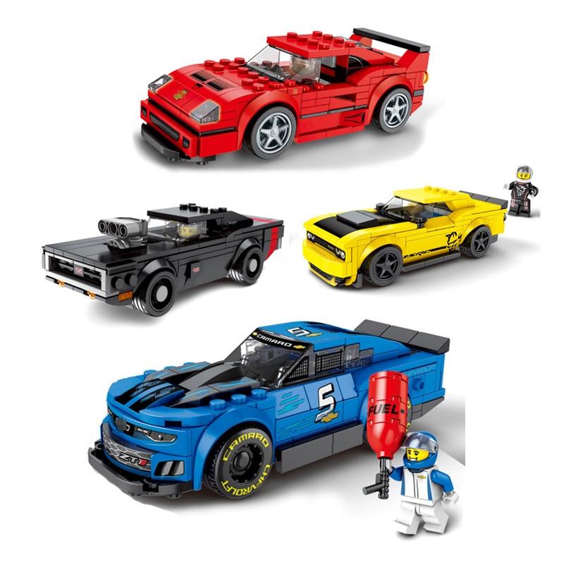 Novos produtos listados Cidade Super Velocidade Pilotos Campeões Supercarro carro de Corrida Blocos de Construção de Brinquedos Para as crianças Presentes de Ano Novo