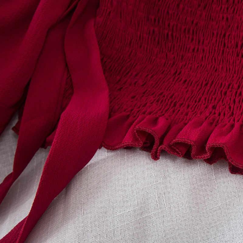 2018 sexy blusa sem alças cortada fora do ombro chiffon laço laço laço até manga amarela blusa manga longa curto topos pz122