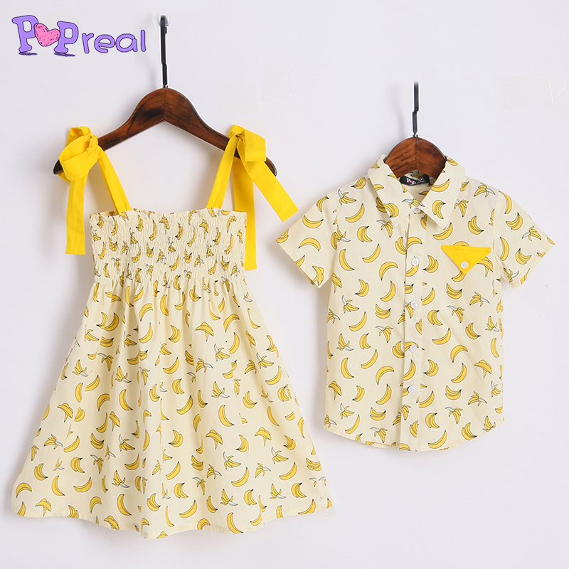 PopReal Cute Brother Sister Banana Prints Cotton Family Matching Clothes 2018 Newest Summer Girls Dress Boy T Shirt For 0-12Y