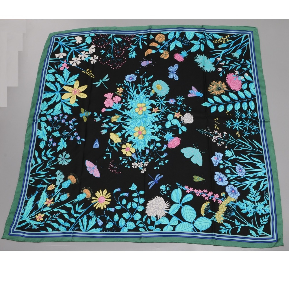 Image 4 - 2018 Floral Print Large Square Silk Scarf Shawl Hijab Foulard 100% Silk Twill Scarf Wraps Women Gifts 88x88cm-in Women's Scarves from Apparel Accessories