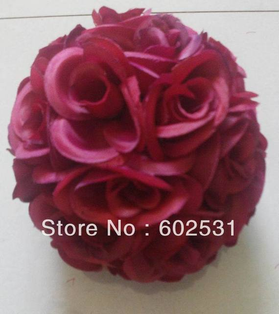 Aliexpress buy 15cm wedding flower ballsilk flower kissing 15cm wedding flower ballsilk flower kissing ball wedding decorationdark red mightylinksfo Choice Image