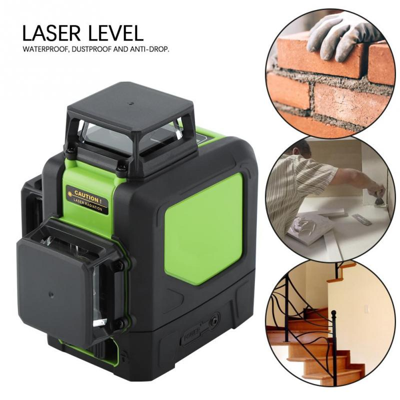 360 Degree 12 Lines Laser Level Meter Waterproof and Anti-drop Red laser level Construction tool Level Measuring Tools drill buddy cordless dust collector with laser level and bubble vial diy tool new