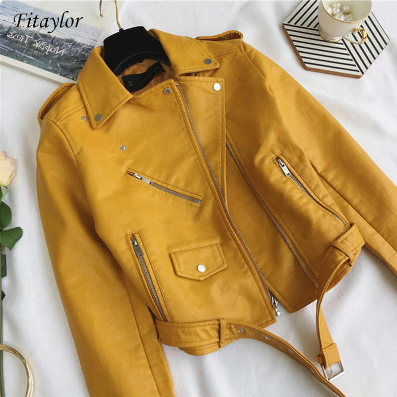 Fitaylor Fashion Women Pu Leather Jacket Bright Color Black Motorcycle Coats Short Faux Leather Biker Jackets Soft Coat Female
