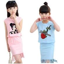 Girls Dress Sets Summer Pretty Vest Skirt Kids Clothes Children Cotton Comfortable Clothing