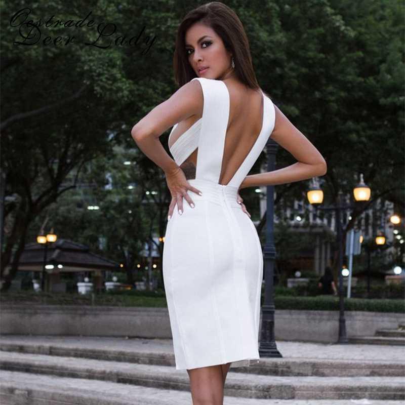 Ocstrade nouveau 2019 vert Olive fendu Sexy blanc robe de pansement été col en v robes moulantes pour les femmes en gros HL rayonne Spandex
