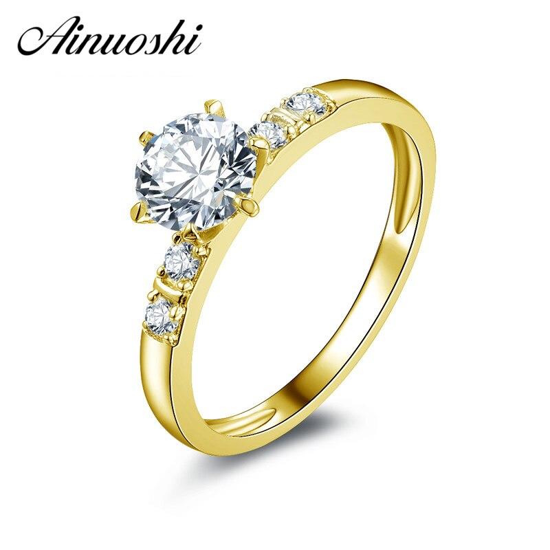 AINUOSHI 10 k Solide Or Jaune Bague De Mariage 0.8 ct, Taille Ronde Diamant Simulé Anillos Mujer Véritable Bague De Mariage En Or pour Les Femmes