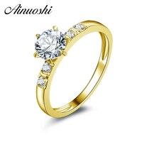 AINUOSHI 10 천개 솔리드 옐로우 골드 결혼 반지 0.8 ct 라운드 컷 시뮬레이션 다이아몬드 Anillos Mujer 진짜 골드 결혼 반지 여성