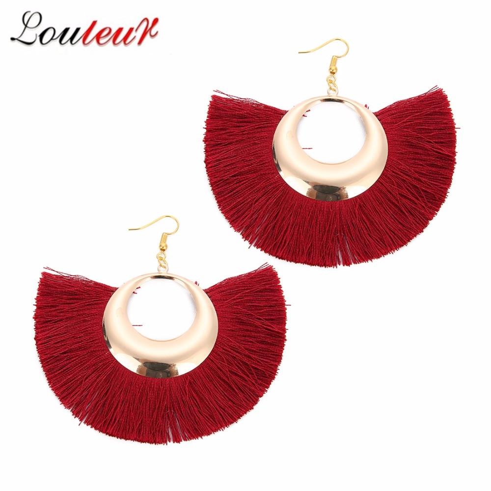 Louleur NEW Earrings Red Long Tassel Earring Ethnic Big Fringed Dangle For Women Fashion jewelry Hanging Female Brincos