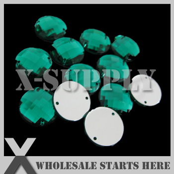 10mm Round Emerald Sew on Flat Back Acrylic Rhinestone Gems with 2 Holes/Wholesale Bulk