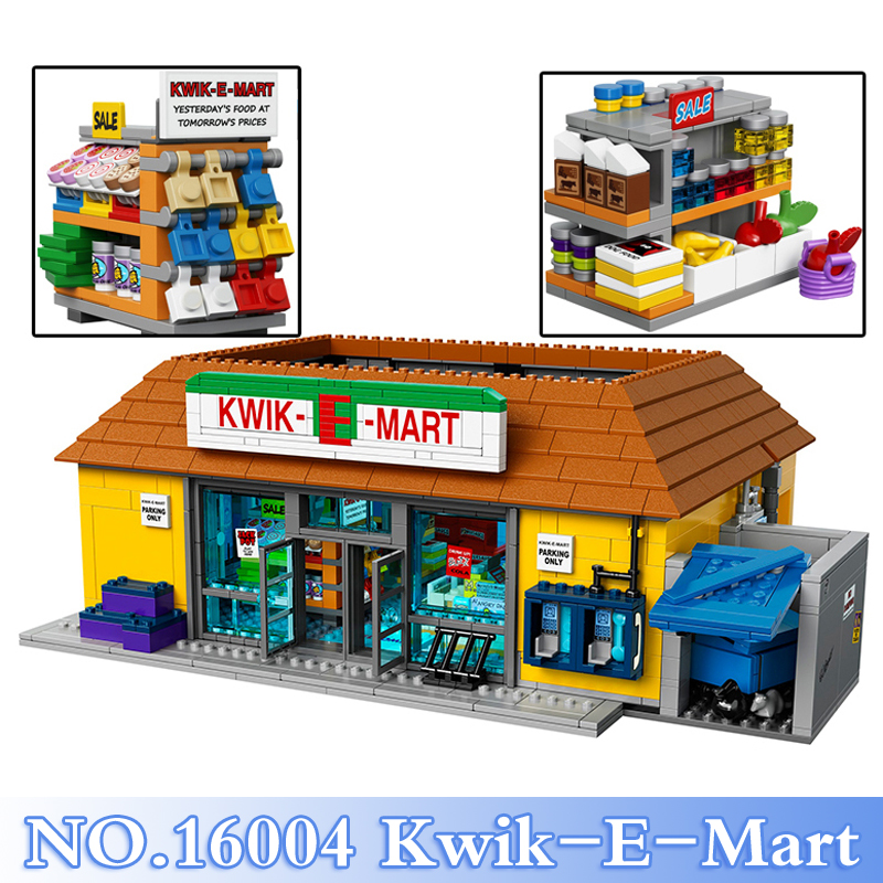 Lepin 16004 Simpsons 2232Pcs The Kwik-E-Mart Figures Building Blocks Bricks Sets Toys For Children Model Kits Compatible 71016