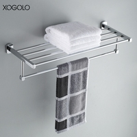 Xogolo Copper Chrome Plated Wall Mounted Single Towel Rack Shelf Wholesale And Retail Brief Style Bathroom