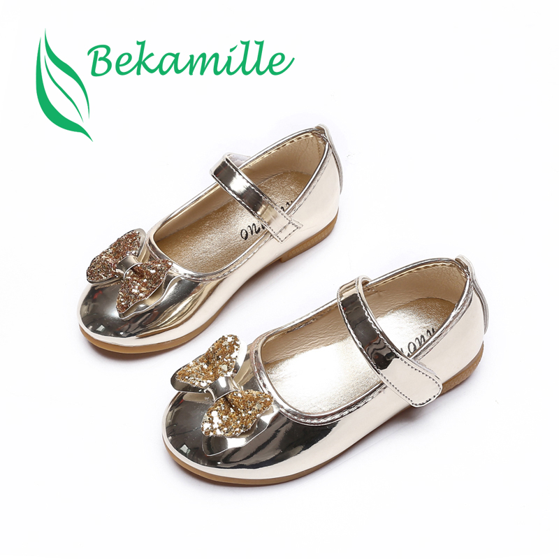 Bekamille Spring Autumn Children Girls Leather Bow Shoes Fashion Bright Diamond Single Shoes Gold Kids Girls Baby Dance Shoes