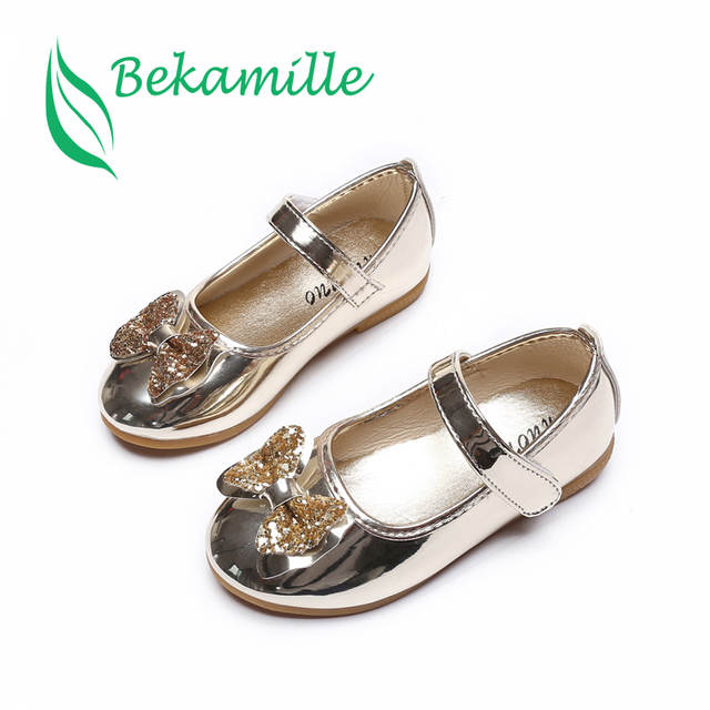 Bekamille Spring Autumn Children Girls Leather Bow Shoes Fashion Bright  Diamond Single Shoes Gold Kids Girls fd67cbc7f611