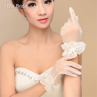 Short Wedding Bridal Glove White Ivory Cheap High Quality Tulle See Through Wrist Length Have Finger New Style
