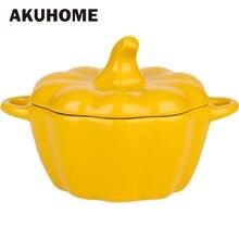 Keramik Kürbis Frühstück Schüssel Porzellan Haushalt Vergoldeten Backen Schüssel Steinzeug Deckel