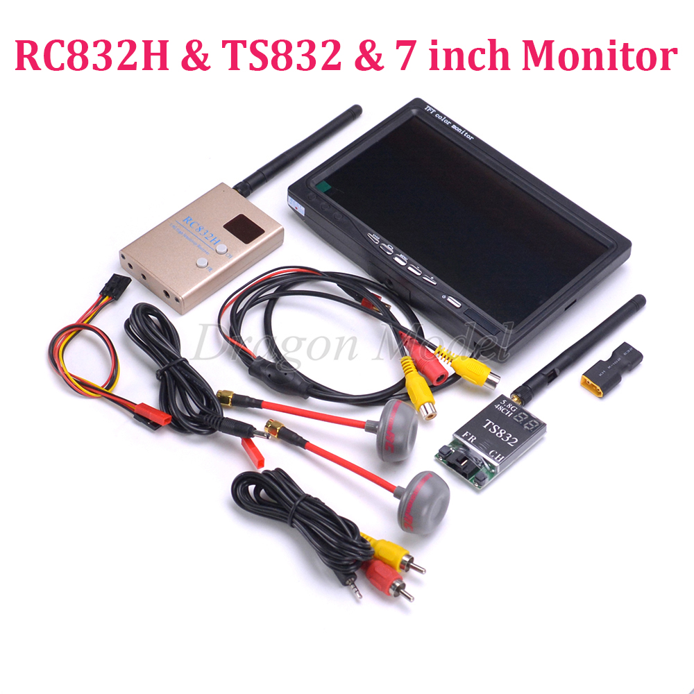 FPV Kit Combo System 5.8Ghz 600mw 48CH TS832 RC832 RC832H 7 inch LCD 1024 x 600 Monitor Fatshark Antenna for Quadcopter FPV boscam fpv wireless av audio video system 5 8ghz 5 8g 600mw 48ch ts832 transmitter tx rc832 plus receiver monitor camera combo